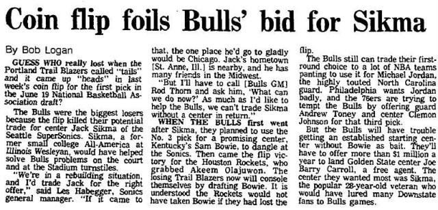 Notícia do Chicago Tribune sobre como o Bulls parecia ter tido azar no Draft de 1984