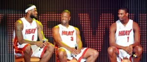 LeBron James, Dwyane Wade e Chris Bosh se juntaram no Miami Heat em 2010