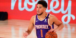 Devin Booker em ação pelo Phoenix Suns na NBA